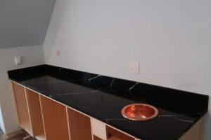 black quartz counter