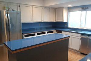 blue quartz kitchen counter