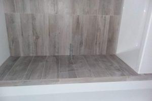 grey porecelain shower wall